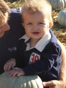 Baby with Marfan syndrome at pumpkin patch