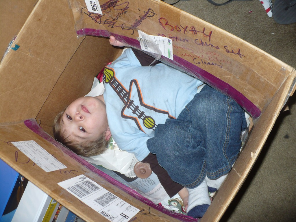 kid in a moving box