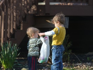 brothers' easter egg hunt