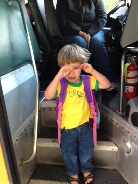 preschooler crying on bus