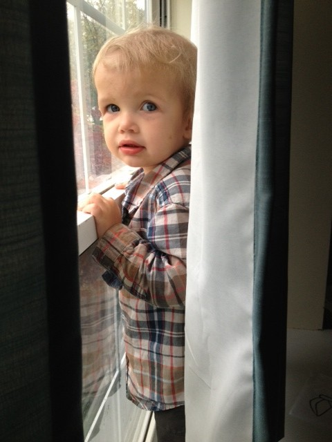 toddler behind a curtain
