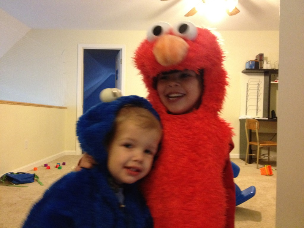 Elmo and Cookie costumes