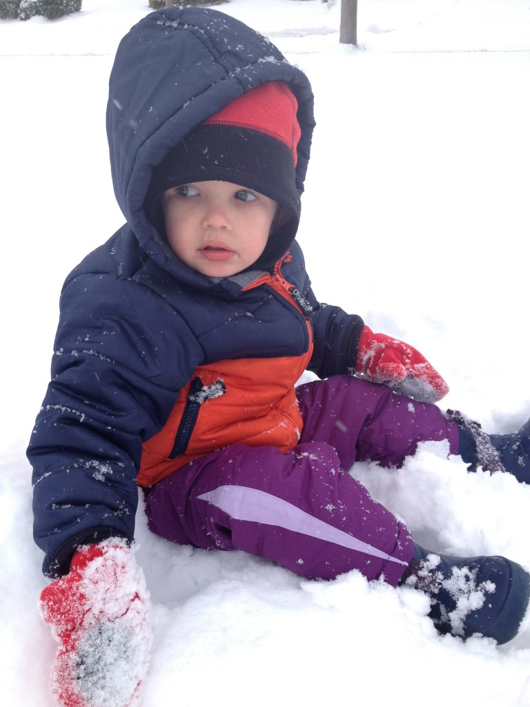 child fell in the snow