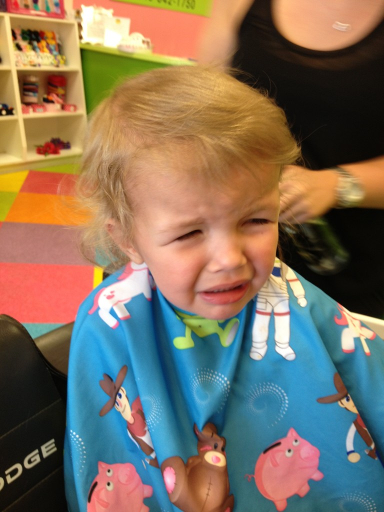 kid crying during hair cut