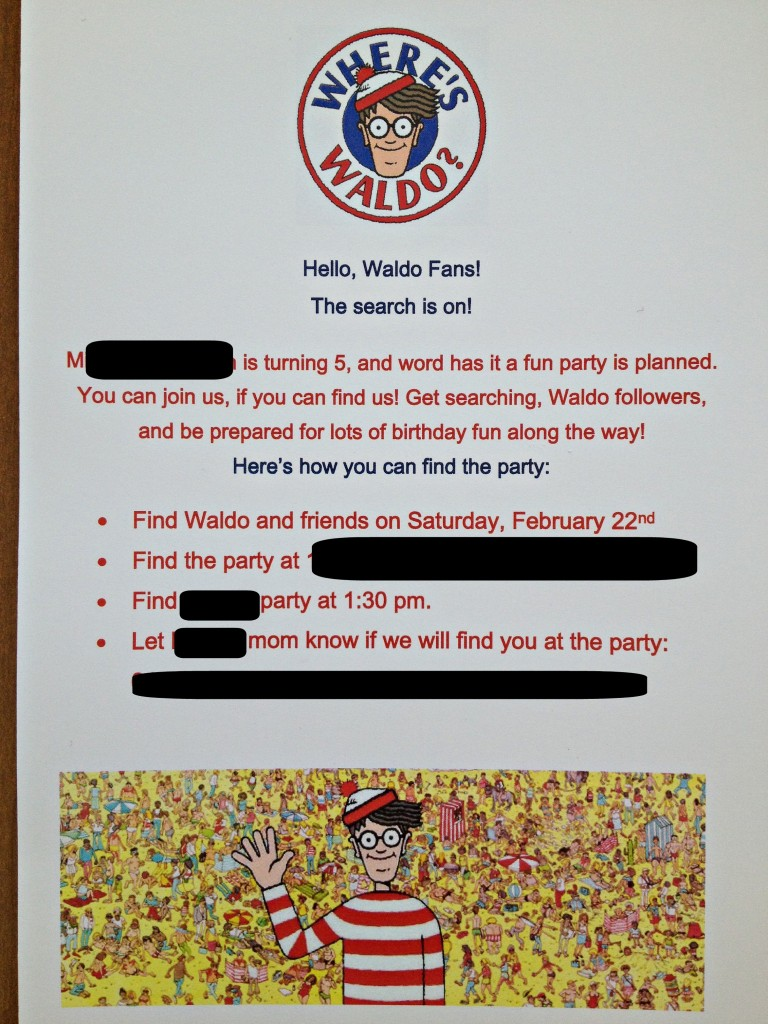 Where's Waldo party invite - Musings of a Marfan Mom